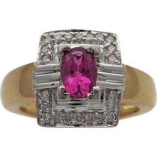 Lady's Tourmaline and Diamond Ring
