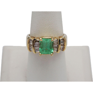 Lady's Exotic Emerald and Diamond Ring