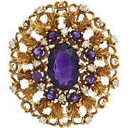 Amethyst and Diamonds 14k gold brooch pin