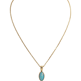 Natural Opal Pendant Necklace 14k Gold