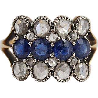 Vintage Sapphire And Diamonds Ring in 18k Gold