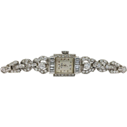 Vintage Le Coultre Diamonds and Platinum Ladies Watch
