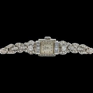 Vintage Le Coultre Diamonds and Platinum Ladies Watch