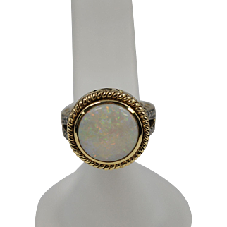Beautiful 14k Round White Natural Opal