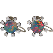 Edwardian Opal and Diamond Earrings
