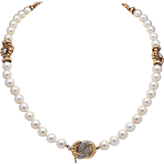 Delightful Cultured Pearl and Diamonds Necklace