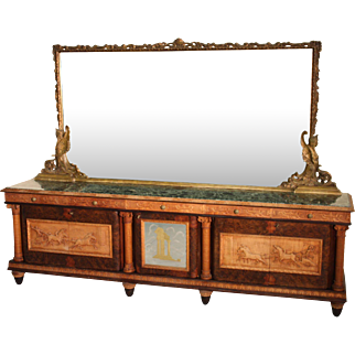 Italian Sideboard With Mirror With Marble Top