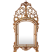 Italian Mirror In Golden Wood From 20th Century