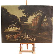 18th Century Italian Painting Landscape With Ruins And Wild Game