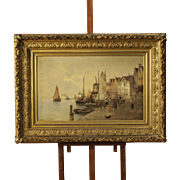 20th Century Signed Seascape Painting Oil On Canvas