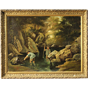 "Signed painting ""Children at the river"" dated 1885"
