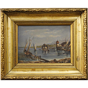 20th Century French Lake Landscape Painting
