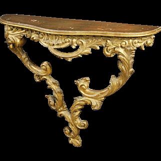 20th Century Italian Console Table In Gilt Wood