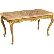 20th Century French Gilt Coffee Table With Marble Top