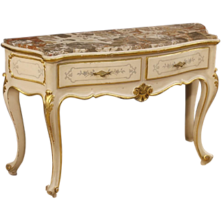20th Century Italian Lacquered Console With Marble Top