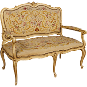 20th Century Italian Lacquered And Gilt Sofa In Wood In Louis XVI Style With Floral Fabric