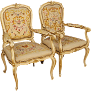 20th Century Pair Of Italian Lacquered And Gilt Armchairs In Wood In Louis XV Style