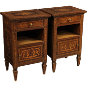 20th Century Pair Of Italian Inlaid Bedside Tables