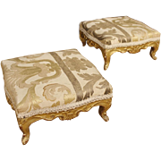 19th Century Pair Of French Footstools In Golden Wood With Damask Fabric