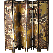 20th Century French Painted Chinoiserie Screen