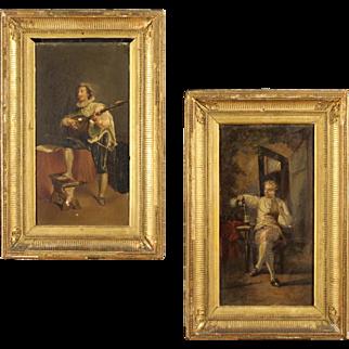 "19th Century Pair Of French Paintings ""Interior Scene"""