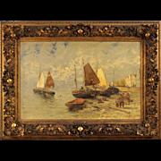 19th Century Dutch Seascape Oil Painting