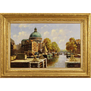 "20th Century Dutch Signed Painting ""View Of Amsterdam"""