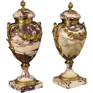 20th Century Pair Of French Potish Vases In Marble