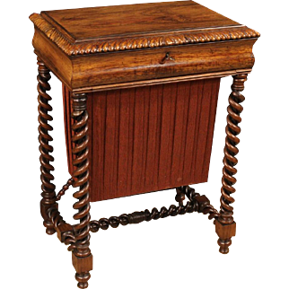 19th Century English Worktable In Palisander And Mahogany
