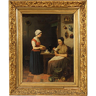 19th Century Dutch Interior Scene Oil Painting