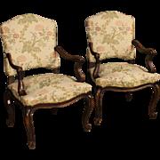 20th Century Pair Of Italian Armchairs In Fabric