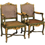 20th Century French Lacquered And Gilt Armchairs