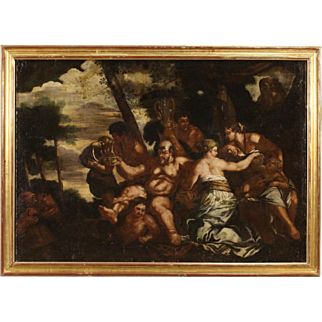 18th Century Italian Bacchanal Oil Painting