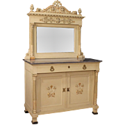 20th Century Lacquered Sideboard With Mirror In Louis XVI Style