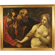 """18th Century Painting Oil On Canvas """"Susanna And The Elders"""""""