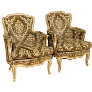 20th Century Pair Of Italian Armchairs In Lacquered and Gilt Wood In Damask Velvet