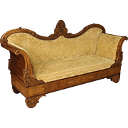 19th Century French Sofa In Yellow Damask Velvet