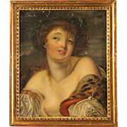 19th Century French Painting Young Girl Portrait