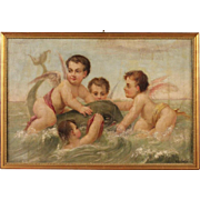 "20th Century Oil Painting ""Cherubs Playing With Mythological Dolphin"""