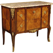 20th Century French Inlaid Chest Of Drawers With Marble Top