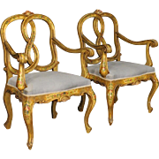20th Century Pair Of Venetian Armchairs In Lacquered Wood