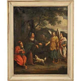 18th Century French Religious Painting Oil On Canvas