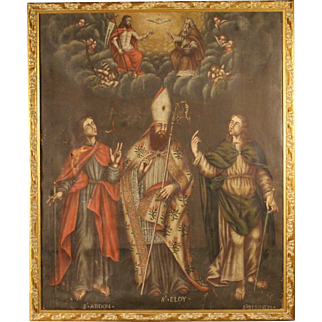 18th Century French Religious Painting Adoration Of Saints With Little Angels