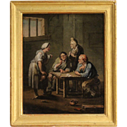 19th Century Flemish Interior Scene Oil Painting