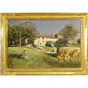 Italian Landscape Painting Oil On Canvas Signed And Dated 1899
