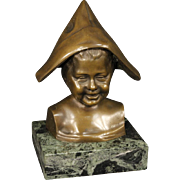 20th Century Italian Bronze Sculpture Child With Hat