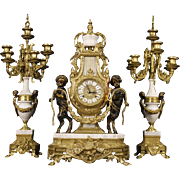 20th Century Triptych Clock With Candlesticks In Marble