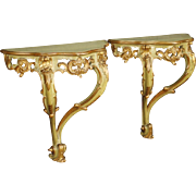 20th Century Pair Of Venetian Lacquered Console Tables