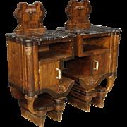 20th Century Pair Of Italian Bedside Tables In Walnut