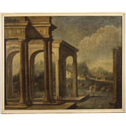 18th Century Italian Oil Painting Architectural Landscape